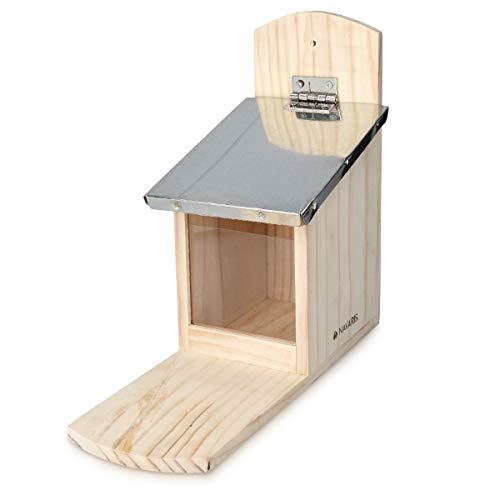 Navaris Eichhörnchen Futterhaus wetterfest aus Holz und Metall - Futterkasten Futterautomat für Garten Balkon - Futterstation mit Prellschutz