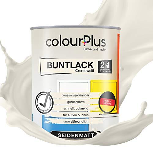 colourPlus®️ 2in1 Buntlack (750ml, RAL 9001 Cremeweiß) seidenmatter Acryllack - Lack für Kinderspielzeug - Farbe für Holz - Holzfarbe Innen - Made in Germany