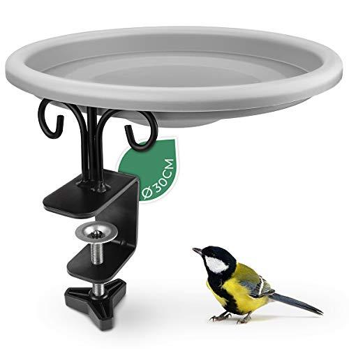 WILDLIFE FRIEND Vogeltränke, Vogelbad, Vogelfutterspender mit Balkonhalterung, XL Futterteller - Futterschale für Vögel, Futterstation zur ganzjährigen Wildvögel Fütterung