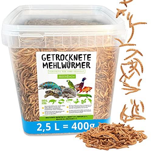 Mehlwürmer getrocknet, 2,5 Liter (400g) Futtermittel im Eimer, der proteinreiche Snack für Wildvögel, Fische, Reptilien, Schildkröten und Igel