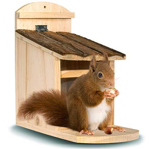 Gardigo Eichhörnchen Futterhaus aus FSC Holz   Futterstelle, Futterspender zum Aufhängen