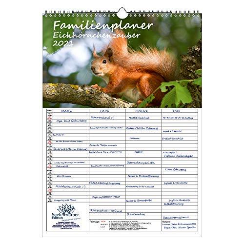 Familienplaner - Eichhörnchenzauber DIN A3 Kalender für 2021 Eichhörnchen - Seelenzauber